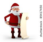 Cartoon Santa Claus holding his List - high quality 3d illustration - stock photo