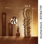 stylized conceptual business chart - success metaphor depicted with coins (artistic loose stylized painting) - stock photo