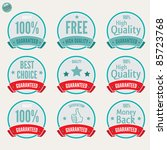Satisfaction Labels and various Guaranteed Badges with retro vintage inspired design - stock vector