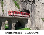 movement of the train tunnel on Teufelsbrucke.Andermatt - stock photo