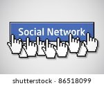 Social network button 2 - stock vector