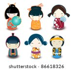 Kokeshi dolls - stock vector