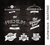 Vintage Styled Premium Quality and Satisfaction Guarantee Label  collection in white on black grungy background design. - stock vector