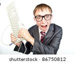 young crazy guy with glasses with a keyboard in hand, isolated over white - stock photo