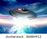 Conceptual image of ufo in earth orbit with glowing lights. - stock photo