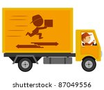 Track delivery with driver and logo on board. Vector available. - stock photo