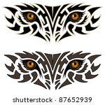 Eyes of an animal in the form of a tribal tattoo - stock vector