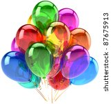 Party balloons happy birthday decoration rainbow multicolor translucent. Holiday anniversary retirement graduation celebrate concept. Fun joy abstract. Detailed 3d render. Isolated on white background - stock photo