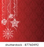 Christmas decorations on the red wallpaper. - stock vector