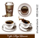 Vector set of coffee cups. All elements are grouped and layered. - stock vector