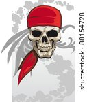 Pirate skull with red bandana background - raster version - stock photo