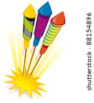Firework rockets on white background - raster version - stock photo