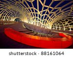 Webb Bridge, Docklands, Melbourne, Australia, at night. - stock photo