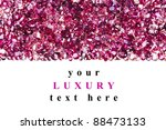 Ruby diamond jewel stones luxury background with copy space on white - stock photo