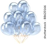 Party balloons white blank balloon Happy birthday decoration bubbles translucent clean. Anniversary graduation retirement celebrate greeting card concept. Positive joy fun abstract. Detailed 3d render - stock photo