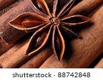 Cinnamon sticks and anise star - stock photo