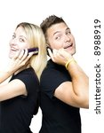 couple on the phone together - stock photo