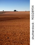 Spanish field in winter with soil detail - stock photo