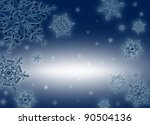 Beautiful transparent snowflakes on the background of midnight blue. Beautiful Christmas (New Year) background. Snowflakes drawn from natural water crystals. The actual proportion. - stock photo