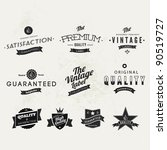 Collection of Typographic Premium Quality and Guarantee Labels with retro vintage styled design - stock vector