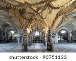 Interior of the Sedlec ossuary (Kostnice) decorated with skulls and bones, Kutna Hora, Czech Republic - stock photo