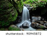 water falls El Yunque rain forest in Puerto Rico - stock photo