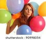 happy cute woman with balloons - stock photo