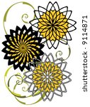 Vector Abstract sunflower design pattern. - stock vector