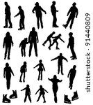 Collection of silhouettes of people on the fads - stock vector