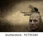 native american with grungy overlay - stock photo