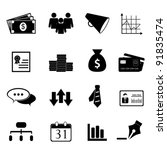 Business and finance icon set in black - stock vector