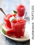 refreshing watermelon granita - stock photo