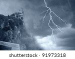 san marino' s tower under the storm - stock photo