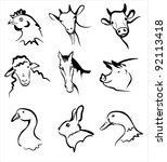 farm animals collection of symbols in simple black lines - stock vector
