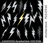 Silver lightning set on black. Huge  Vector set - stock vector