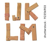 Rustic Wooden Alphabet Letters I, J, K, L, M made from pieces of wood screwed together, grain and texture on white, illustration, EPS10 - stock vector