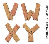 Rustic Wooden Alphabet Letters V, W, X, Y made from pieces of wood screwed together, grain and texture on white, illustration, EPS10 - stock vector