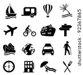 Leisure, travel and recreation icon set on white background - stock vector