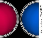 two paint-cans, filled with blue, the other with red, shot from above, isolated on a black background - stock photo