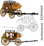 Stagecoach Without  Horses Vector 03 - stock vector