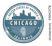 Grunge rubber stamp with name of Illinois, Chicago, vector illustration - stock vector