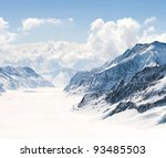 Panorama Scenic of Great Aletsch Glacier Jungfrau region,Part of Swiss Alps Alpine Snow Mountain Landscape at Switzerland. - stock photo
