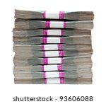 million rubles - stack of bills in packs of Russian - stock photo
