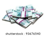 million rubles - heap of bills in packs of Russian - stock photo