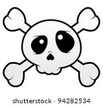 Isolated skull with crossbones - stock vector