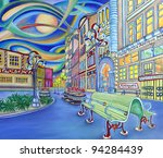 Oil painting of Seattle downtown. Modern city. Colorful original design. Pioneer square. - stock photo