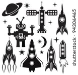 vector design set of stylized space symbols - stock vector