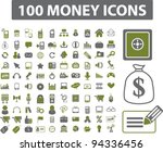 100 money icons set, vector - stock vector