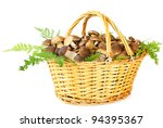Basket full of different mushrooms isolated on a white background - stock photo