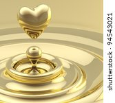 Abstract background as a liquid gold waves with a heart like drop in the center - stock photo